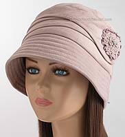 Женская теплая шляпка клош пудрового цвета