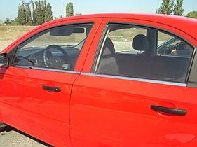 Окантовка окон (4 шт, нерж.) Chevrolet Aveo 2002-2006