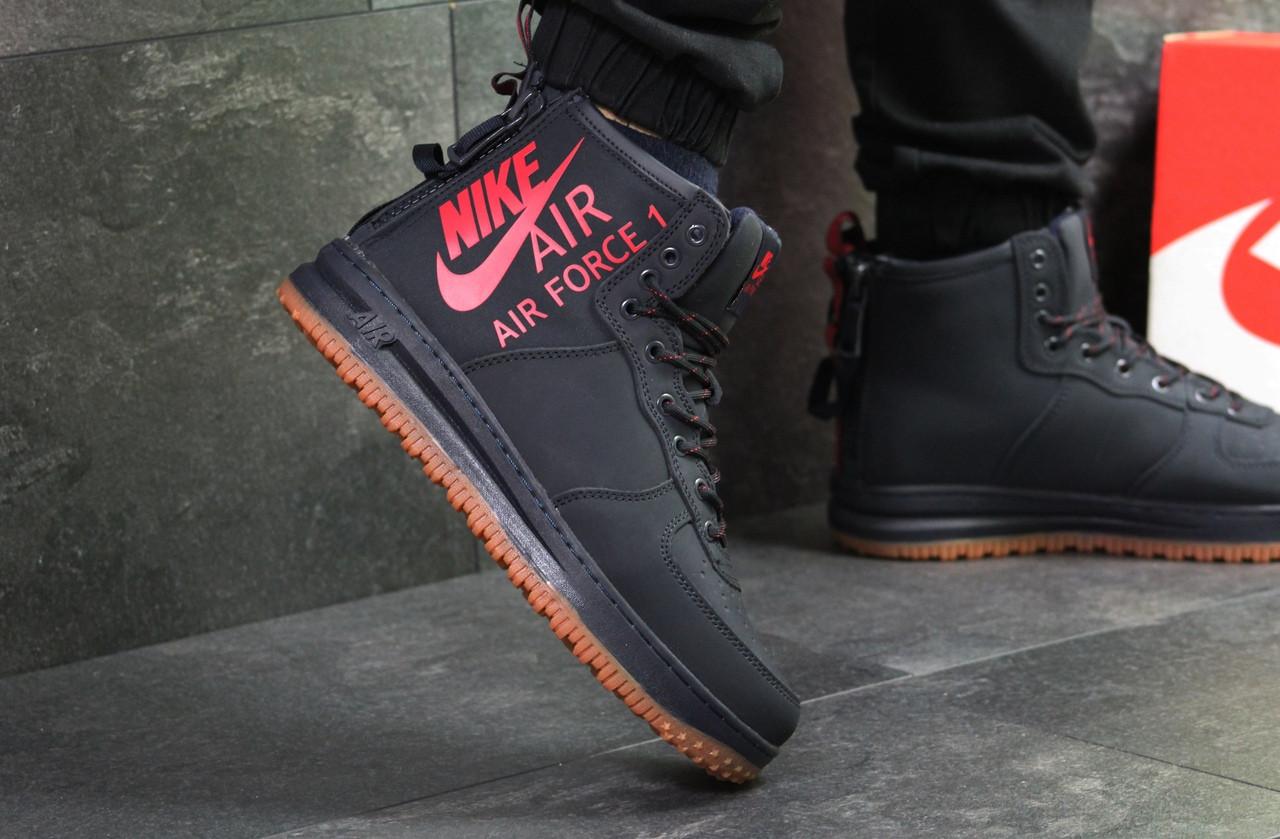 Кросівки чоловічі Nike Air Force шкіряні високі топові повсякденні зима на хутрі в синьому кольорі, ТОП-репліка