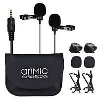 Двойной петличный микрофон для камеры, телефона. (кабель 6м)