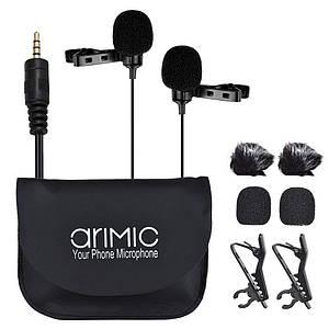 Подвійний петличний мікрофон камери телефону. (кабель 6м)