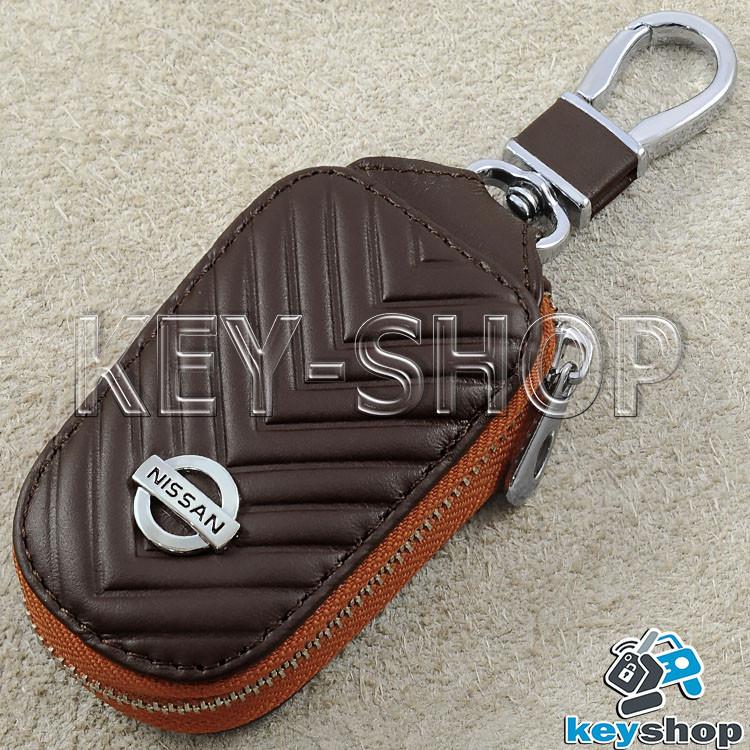 Ключниця кишенькова (коричнева, шкіряна, з тисненням, на блискавці, з карабіном) логотип авто Nissan (Ніссан)