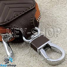 Ключниця кишенькова (коричнева, шкіряна, з тисненням, на блискавці, з карабіном) логотип авто Nissan (Ніссан), фото 3