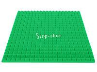 Акустический поролон «Пирамида 50» 1*1 м. Зелёный.