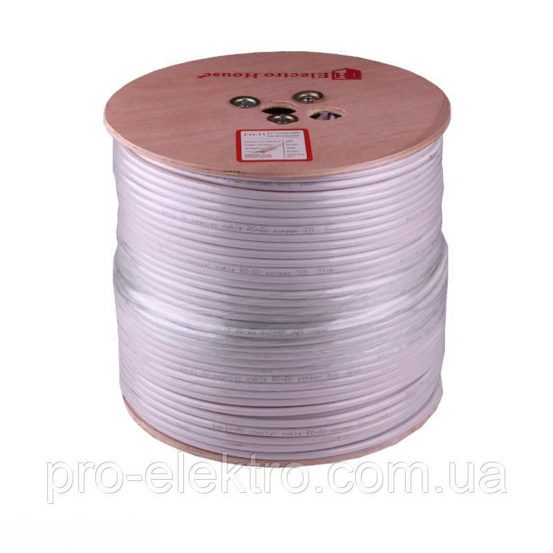 EH-11 Телевизионный (коаксиальный) кабель RG-6U 32% ССS 1,02 Al 32 алюминиевых  жилы ПВХ/белый