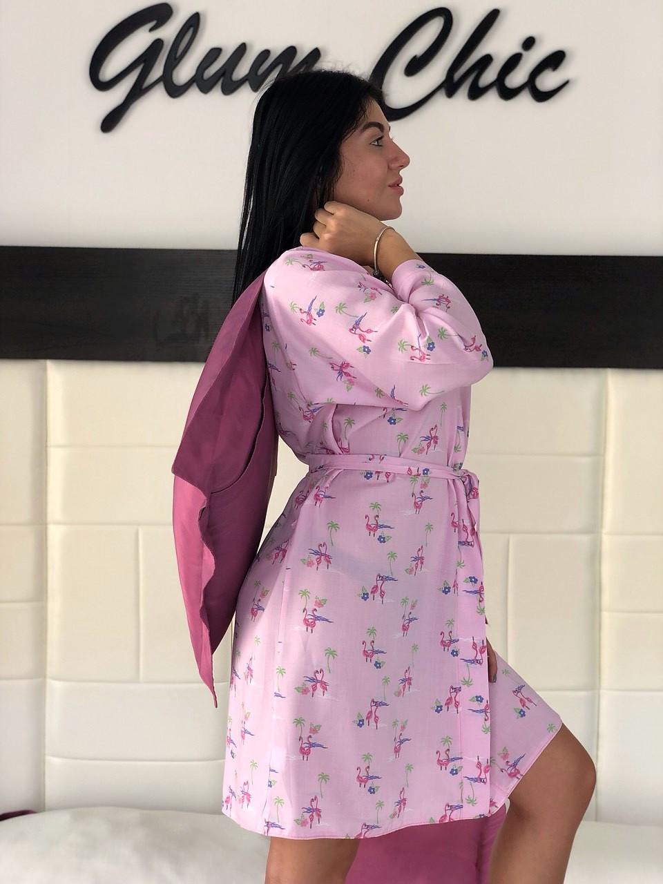 Легкий розовый халатик с рисунком, женская домашняя одежда ТМExclusive