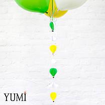 Букет для ребенка из 10 шаров с гелием + декор: гирлянда воздушные шары с корзиной и объемные облака, фото 3