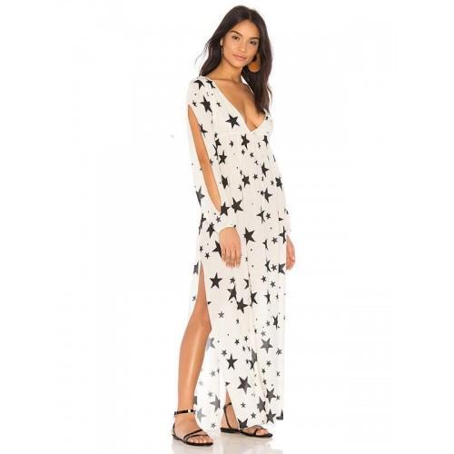 Платье пляжное белое со звездами коттоновое Пляжное платье-туника с открытыми рукавами 146-40