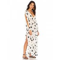 Платье пляжное короткий рукав белое чёрные звёзды-146-40