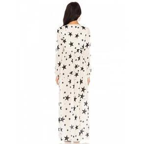 Платье пляжное белое со звездами коттоновое Пляжное платье-туника с открытыми рукавами 146-40, фото 2