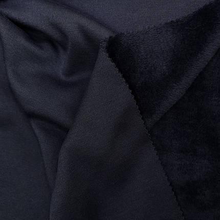 Трикотаж на меху темно-синий, фото 2