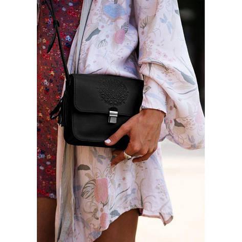 Кожаная женская бохо-сумка Лилу черная, фото 2