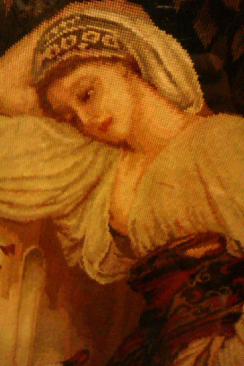 """Картина вишита півхрестиком """"Дівчина і лебідь"""" ручної роботи"""