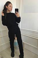 Теплый женский спортивный костюм трехнитка на флисе С-ка черный