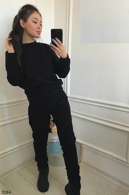 0497ff43 Теплый женский спортивный костюм трехнитка на флисе С-ка черный - КОКО МОДА  в Ровно