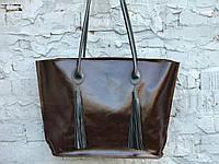 Вместительная женская сумка-шоппер | Алькор | Шоколад