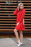 Женское платье спортивное с капюшоном внизу рюш турецкая петля лампас размеры:42,44,46