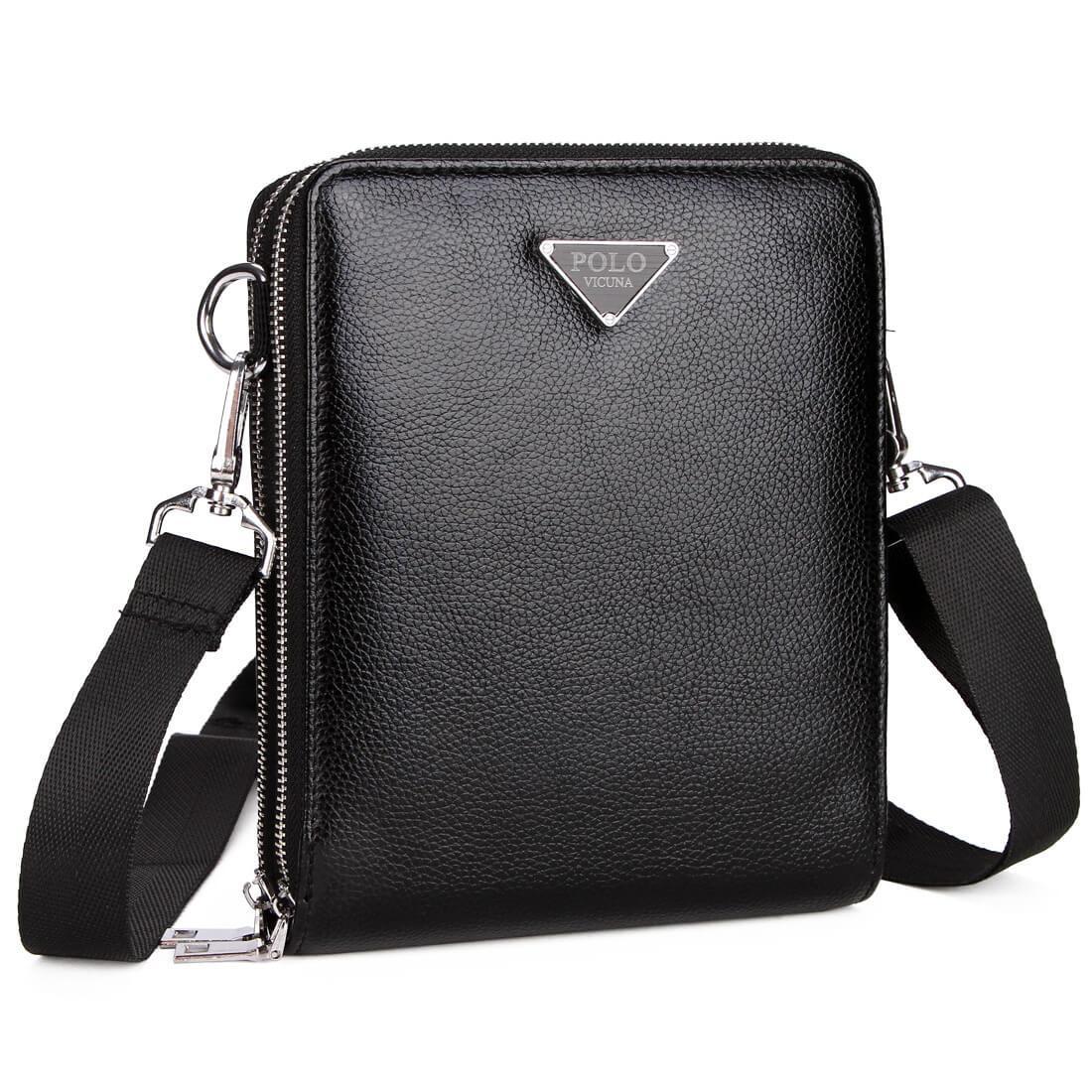 Мужская сумка мессенджер, барсетка через плечо V8829 черная