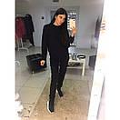 Теплый женский спортивный костюм трехнитка на флисе L-ка черный, фото 2