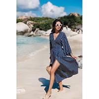 Платье пляжное синее полосатое длинный рукав-146-38