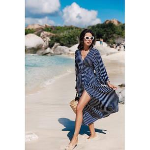 Платье пляжное синее полосатое длинный рукав-146-38, фото 2