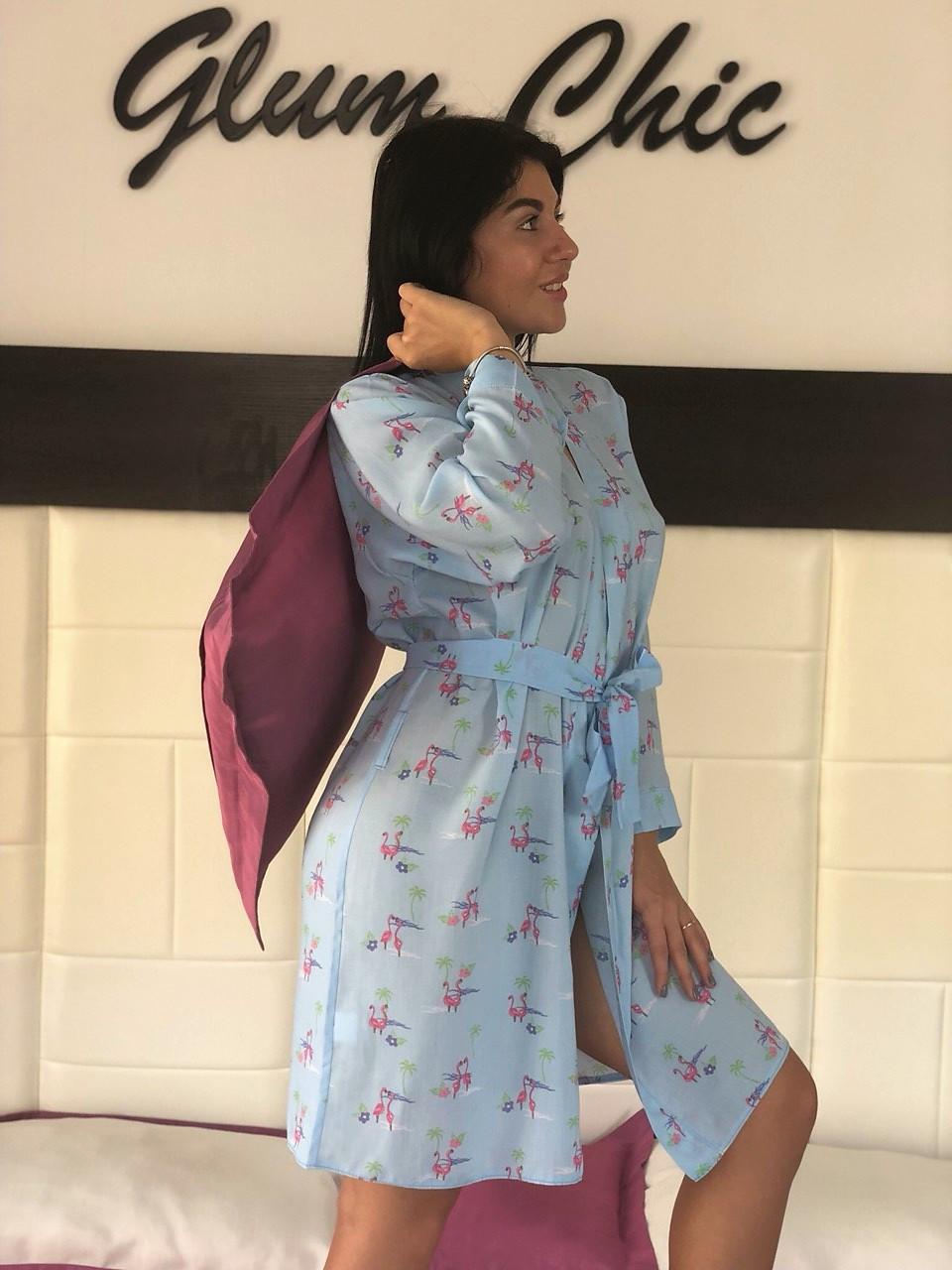 Летний голубой халатик с фламинго, женская одежда для дома ТМExclusive