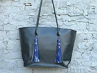 Вместительная женская сумка-шоппер | Кайзер Синий