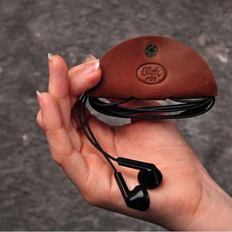 Кожаный холдер для наушников светло-коричневый, фото 2