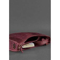 Кожаная женская сумка Круассан бордовая Crazy Horse, фото 2