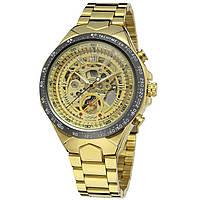 Часы мужские наручные Winner F110610 Gold Механические с металлическим  браслетом 68139a085b2