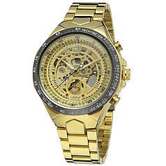 ✪ Часы мужские наручные Winner F110610 Gold Механические с металлическим браслетом
