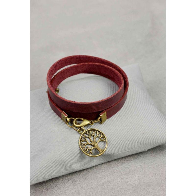 Женский кожаный браслет -лента бордовый