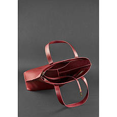 Кожаная женская сумка шоппер D.D. бордовая, фото 3