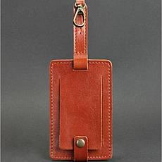 Кожаная бирка для багажа Бланк-тэг светло-коричневая, фото 3