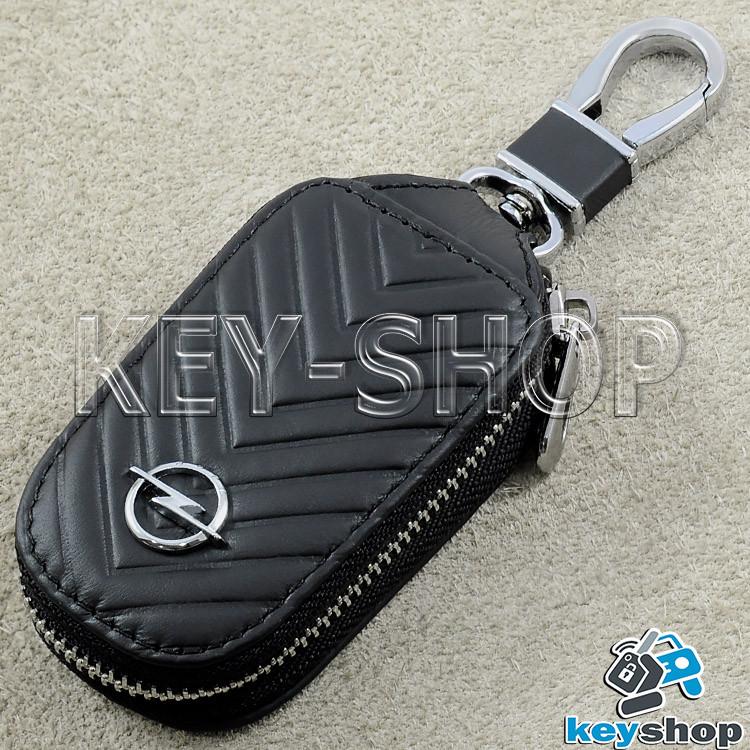 Ключниця кишенькова (чорна, шкіряна, з тисненням, на блискавці, з карабіном) логотип авто Opel (Опель)