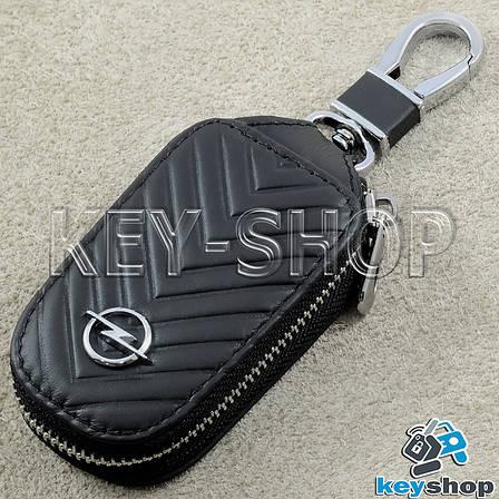Ключниця кишенькова (чорна, шкіряна, з тисненням, на блискавці, з карабіном) логотип авто Opel (Опель), фото 2