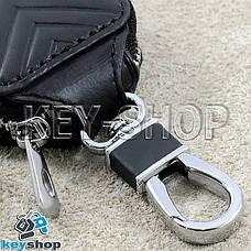 Ключниця кишенькова (чорна, шкіряна, з тисненням, на блискавці, з карабіном) логотип авто Opel (Опель), фото 3