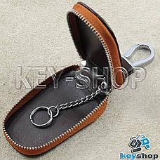 Ключниця кишенькова (коричнева, шкіряна, з тисненням, на блискавці, з карабіном) логотип авто Opel (Опель), фото 3