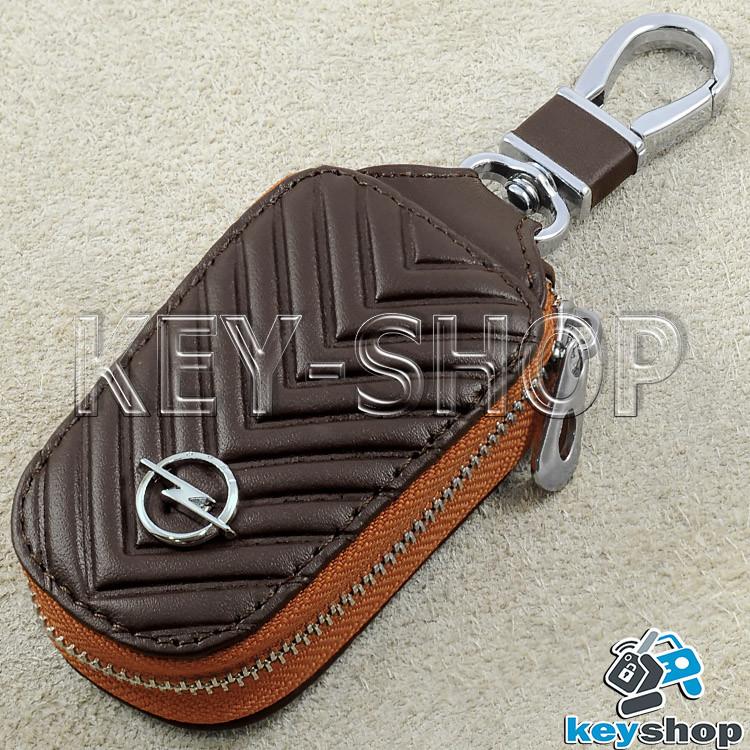 Ключница карманная (коричневая, кожаная, с тиснением, на молнии, с карабином) логотип авто Opel (Опель)