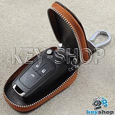 Ключница карманная (коричневая, кожаная, с тиснением, на молнии, с карабином) логотип авто Opel (Опель) , фото 2