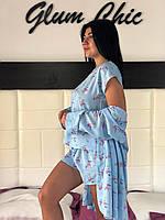 Легкий цветной комплект для дома и сна  халат +пижама (майка с шортами) 832260879bbed
