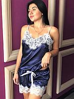 Романтичная пижама из шелка с белым кружевом, женские пижамы., фото 1