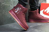 Кроссовки мужские Nike Air Force зимние яркие высокие топовые теплые на шнуровке (бордовые), ТОП-реплика, фото 1