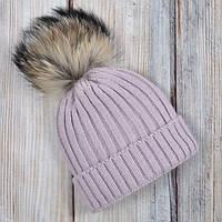 Новые вязанные шапочки с бубоном из натурального меха