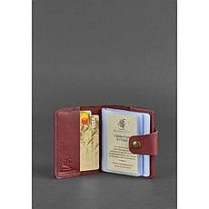 Женский кожаный кард-кейс 7.1 (Книжечка) бордовый, фото 2