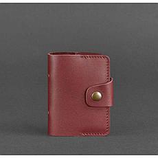 Женский кожаный кард-кейс 7.1 (Книжечка) бордовый, фото 3