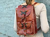 Кожаный женский городской рюкзак  | Коньяк-Кофе