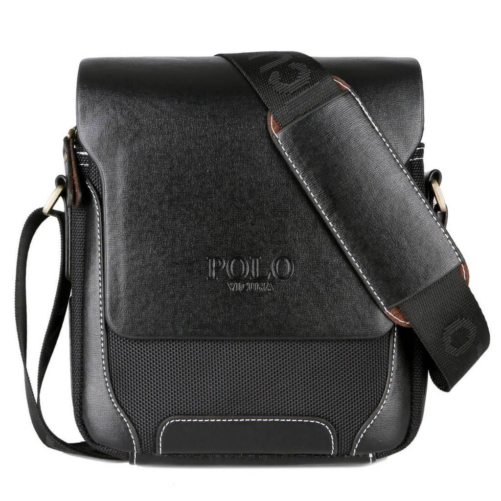 Мужская сумка через плечо, мессенджер Polo Vicuna V8837 черная