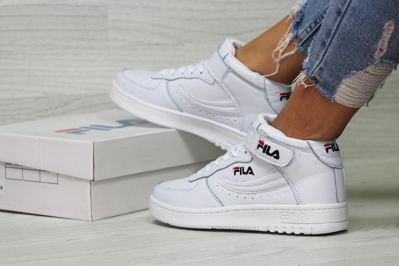 e15d37c2 Осенние женские кроссовки FILA, белые, высокие(Реплика) - Интернет-магазин