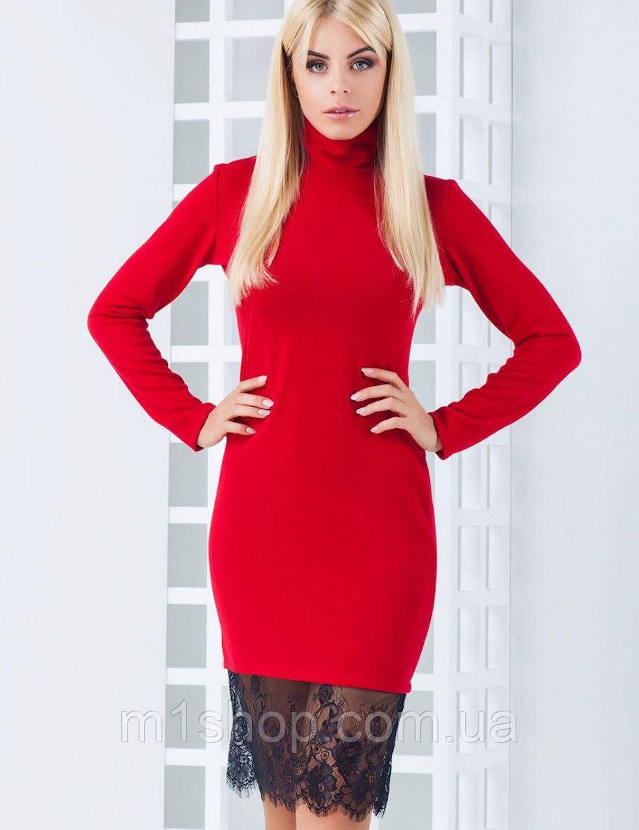 Женское  ангоровое платье с кружевом по низу (Иви mrb)